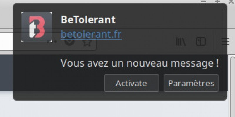 betolerant notification chrome